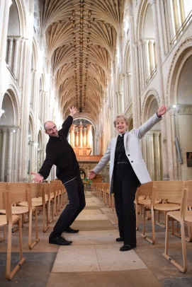 announcement publicity photo with Dean of Norwich Cathedral, copyright EDP