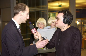 Phil being interviewed live at the Forum by radio Norfolk